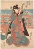 Utagawa (Osawa) Sadafusa / Woman standing adjusting hairpin - (descriptive title) / date not known OR ca. 1825-1850  ---