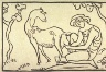 Aristide - Joseph - Bonaventure Maillol / Thyrsis Milking a Goat, unnumbered plate from the extra set of woodcuts accompanying the book, Publius Vergilius Maro: Eclogae (The Eclogues of Virgil) (Weimar: Cranach Press, 1925) / 1912 - 1914