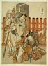 Katsukawa Shunsho / The actors Nakamura Nakazo I as Chinzei Hachiro Tametomo, and Ichikawa Danjuro V as Kazusa no Gorobei Tadamitsu, in the play Kitekaeru Nishiki no Wakayaka (Returning Home in Splendor) / Edo period, 1780