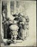 Rembrandt van Rijn / Beggars Receiving Alms at the Door of a House / 1648