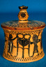 Group of Oxford Lid / Pyxis with lid: Herakles Seizing the Delphic Tripod from Apollo / ca. 550 B.C.