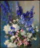 Laura Coombs Hills / Larkspur, Peonies, and Canterbury Bells / about 1926