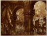 Antonio Bibiena / Stage Design for a Vast Palace with a Roman Ruler Enthroned at Left and Soldiers Fighting / Dates not recorded