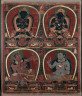 Tibet, Nepal School, 15th Century / Pata with Four Figures / 2nd half of the 15th Century