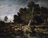 Charles Emile Jacque / Shepherdess Watering Sheep / 1881