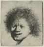 Rembrandt Harmensz. van Rijn / Self Portrait with Long Bushy Hair: Head Only / about 1631
