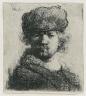 Rembrandt Harmensz. van Rijn / Self Portrait in a Heavy Fur Cap: Bust / 1631