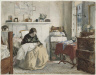 Unidentified artist, 19th century / Bedroom with a mother holding a child / June 22, 1857