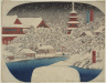 Utagawa Hiroshige / Asakusa Kannon Temple in Snow from the series Famous Places in Edo / about 1850-1852