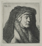 Rembrandt Harmensz. van Rijn / Bust of an Old Woman in a Furred Cloak and Heavy Headdress / 1631