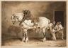 Jean Louis André Théodore Gericault / Dappled Draught Horse Being Shod (Cheval gris pommelé chez la Marechal ferrant) / about 1823