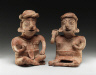 Nayarit / Seated Man Holding a Ball and Seated Woman Holding a Bowl / 100 BC/250 AD