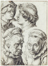 Jacques de Gheyn II / Studies of the Heads of Two Youths and an Old Woman / c.1600/1605