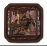 China / Square Dish (Die) with Scholars by the Shore / Qing dynasty, Kangxi period, 1662-1722