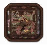 China / Square Dish (Die) with Scholars in Landscape / Qing dynasty, Kangxi period, 1662-1722