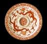 China, Jiangxi Province, Jingdezhen / Cup Stand (Tuozhan) with Longevity (Shou) Character and Dragons among Waves / Qing dynasty, Qianlong mark and period, 1736-1795