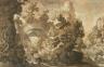 Remigio Cantagallina / Imaginary Landscape with Hunters / c. 1630
