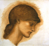 """Edward Burne-Jones / Study for the Head of Fortune for """"The Wheel of Fortune"""" / c. 1877-1883"""