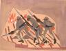William H. Johnson / War Scene--Three Soldiers with Bayonnets / ca. 1942