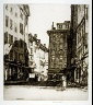 Louis C. Rosenberg, A. R. E. / Untitled (European street scene, woman holding child in her arms in right foreground) / 1938