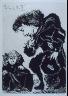 Pablo Picasso / Petite infante accroupie et courtisan (Little Princess Crouching and Courtesan), illustration XXVII for page 116 in the book La Célestine by Fernando de Rojas (Paris: Editions de l'Atelier Crommelynck, 1971) / 1968