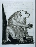 """Pablo Picasso / """"Le singe (The Monkey),""""  in the book Histoire naturelle:  Picasso eaux-fortes originales pour les textes de Buffon (Picasso's Original Etchings for Buffon's Text)  (Paris: Martin Fabiani, 1942) / 1936"""