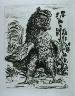 """Pablo Picasso / """"Le coq (The Rooster),""""  in the book Histoire naturelle:  Picasso eaux-fortes originales pour les textes de Buffon (Picasso's Original Etchings for Buffon's Text)  (Paris: Martin Fabiani, 1942) / 1936"""
