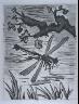 """Pablo Picasso / """"La libellule (The Dragonfly),""""  illustration in the book Histoire naturelle:  Picasso eaux-fortes originales pour les textes de Buffon (Picasso's Original Etchings for Buffon's Text)  (Paris: Martin Fabiani, 1942) / 1936"""