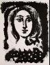 """Pablo Picasso / """" Illustration. Femme au carsage à pois,"""" in the book Góngora: Vingt poëmes by Luis de Góngora y Argote (Paris: Les Grands Peintres modernes et le Livre, 1948). / 1947"""