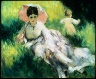 Pierre Auguste Renoir / Woman with a Parasol and Small Child on a Sunlit Hillside / about 1874-76
