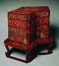 Japan, Ryukyu Islands, Edo Period / Tiered Food Box with Stand / Late 18th Century