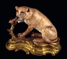 Meissen factory / Statue of a seated lioness Dresden china with ormolu mounts / circa 1750