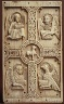 German or North Italian / Plaque with Agnus Dei on a Cross between Emblems of the Four Evangelists / probably 9th century