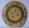"""Unknown / Gambling tray flat; four pairs each: zig-zag rows of triangles, standing  figures; 12 """"X's"""" / undated"""