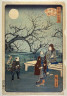 Hiroshige II / Moon at the Plum Orchard at Kameido - From: 36 Views of the Eastern Capitol / 1862
