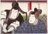 Hirosada / The Actor Nakamura Utaemon IV as Ariwara no Narihira and Otomono Kuronushi, as two of the Six Immortal Poets, in a dance play at the Naka Theater / 1852