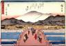 Hiroshige / The Great Bridge at Sanjo in Kyoto (Kyo sanjo ohashi no zu),  no. 55 from a series of Fifty-three Stations of the Tokaido (Tokaido gojusantsugi) / circa 1838 - 1840