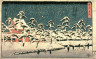 Hiroshige / Snow at Zojo Temple in Shiba (Shiba zojoji setchu no zu), from a series  Famous Places in the Eastern Capital (Toto meisho) / circa 1847 - 1850