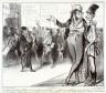 Honoré Daumier / C'est tout de même flatteur d'avoir fait tant d'élèves!.... Mais c'est embêtant, y en a de trop, la concurrence tue le commerce et pour peu que ça continue nous serons débordés, nous deviendrons perruques, rococos, nous crêverons de faim fauidra nous faire gendarmes ou capucins  no. 76 of the series Caricaturana / 1838