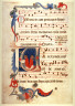 Anonymous / Recto:Saints Celebrating Mass on a page of music  from an unidentified Gradual Verso: Page of music / Mid 14th Century