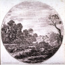 Stefano Della Bella / Cows Grazing in a Valley, from the series Landscapes and Ruins of Rome / 17th century