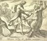 Antonio Tempesta / Marsyas victus ab Apolline excoriatur (Apollo Killing Marsyas), pl. 58 from the series Ovids Metamorphoses / 17th century