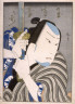 Hirosada / Kataoka Gado as Tamashima Kohei and Ichikawa Ebizo as Nippon Daemon in scene from the play Akiba Gongen, as performed at the Chikugo Theater in Osaka  5/1849 / 1849