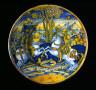 probably by Giacomo Mancini / Dish with the Combat of Ruggiero and Mandricardo / circa 1545