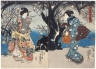 Utagawa Kunisada (Toyokuni III) / Courtesans under Blossoming Plum Trees / mid-19th century