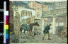 James M Preston / Man leading horse ridden by a child into a courtyard / between 1895 and 1951
