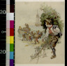 George Edmund Varian / Jim Hawkins watching pirates coming ashore in canoes / 1918?