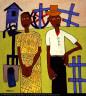 William H. Johnson / Farm Couple at Well / ca. 1939-1940