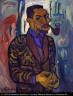 William H. Johnson / Self-Portrait with Pipe / ca. 1937