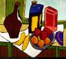William H. Johnson / Still Life--Fruit, Bottles / ca. 1938-1939